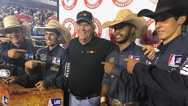 RFD-TV President and Founder Patrick Gottsch with winners of the Brazil National Rodeo Leagues rodeo in Sao Paulo, Brazil.