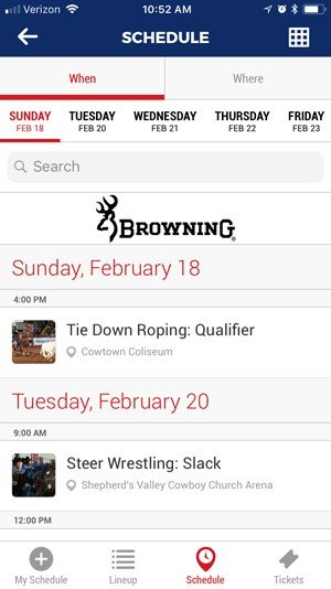 Schedule Page in the App