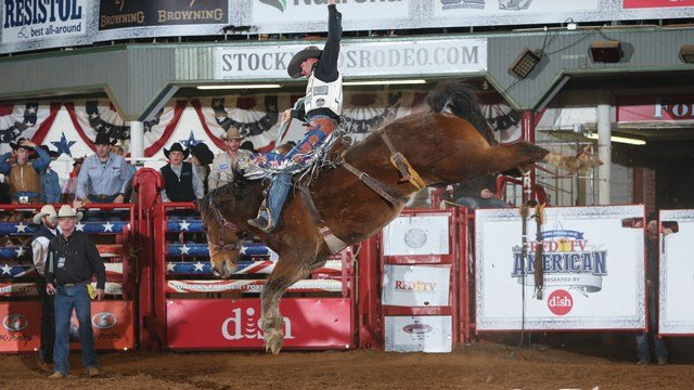 Saddle Bronc Rider Heith DeMoss' performance at Round 2 of THE AMERICAN Semi-Finals, on Friday, February 23, 2018.