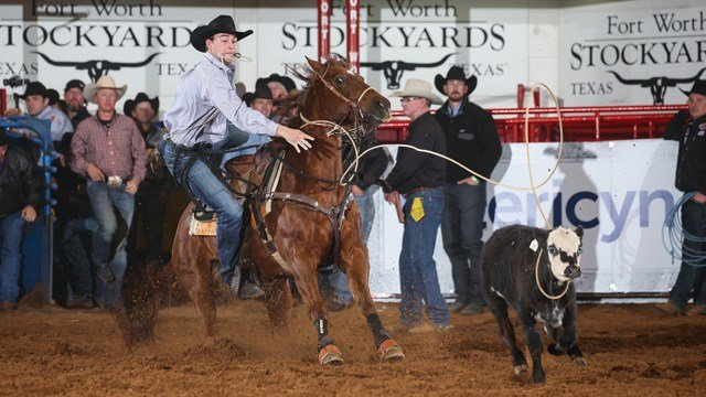 Tie Down Roper Tyler Milligan's performance at Round 2 of THE AMERICAN Semi-Finals, on Friday, February 23, 2018.