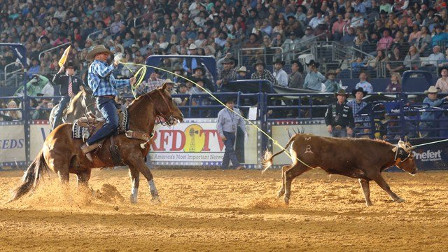 Team Ropers Erich Rogers & Cory Petska during the Long Go at THE AMERICAN presented by DISH, February 25, 2018.