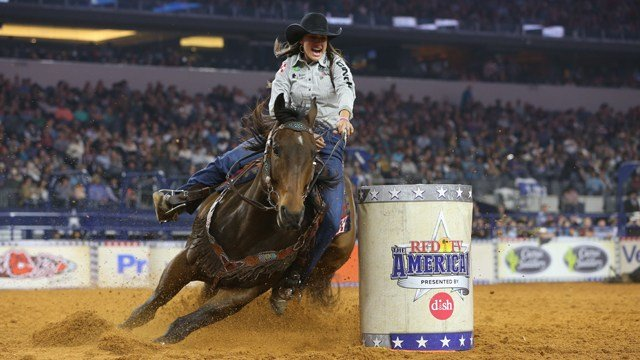 Barrel Racing winner Taci Bettis during the Shoot Out at THE AMERICAN presented by DISH, February 25, 2018.