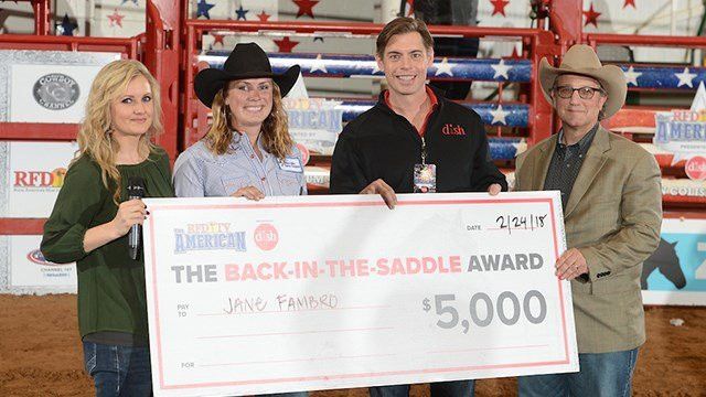 Jane Fambro receives the Back-In-The-Saddle Award with RFD-TV's Amy Wilson, DISH CMO Jay Roth  and RFD-TV's Sean Cassidy.