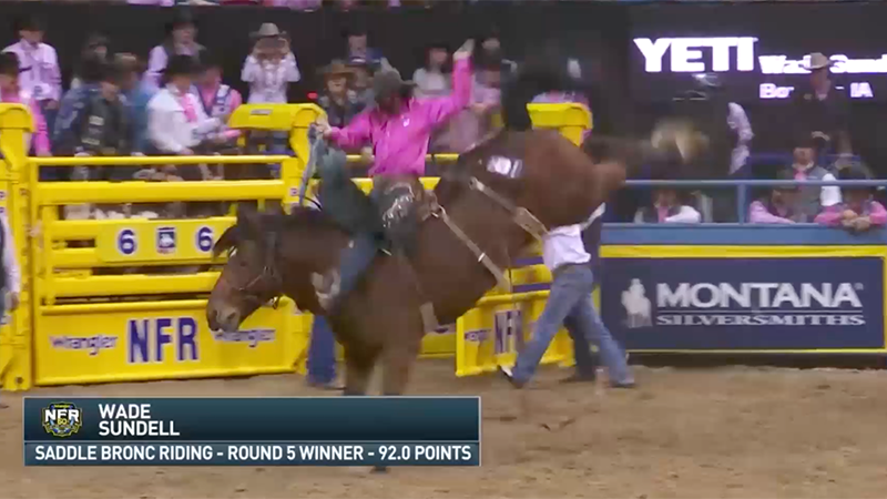 Saddle Bronc Rider Wade Sundell rides to victory in Round 5 of the 2018 WNFR.
