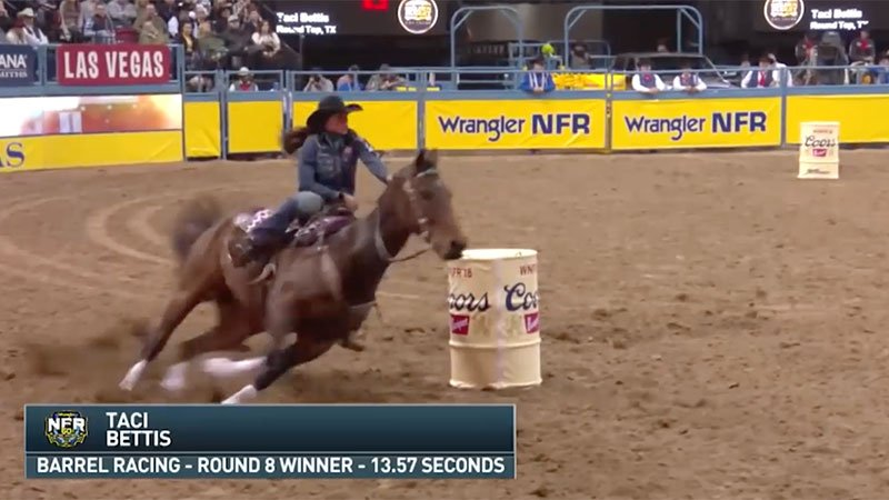 Barrel Racer Taci Bettis rides to victory in Round 8 of the 2018 WNFR.
