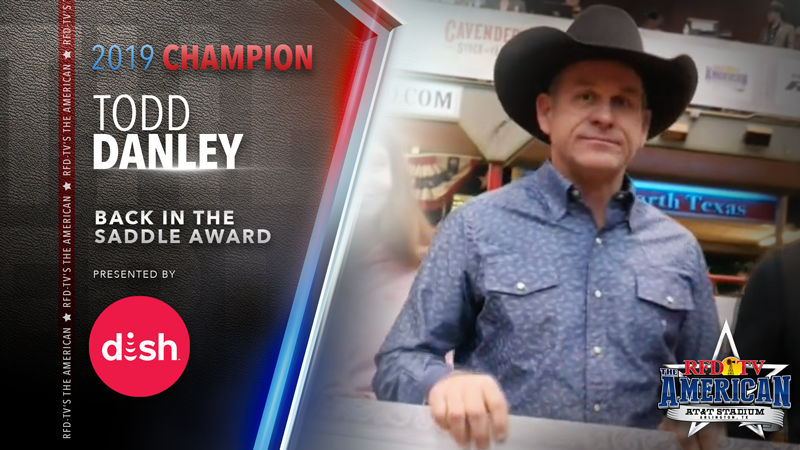 Todd Danley is presented with the DISH Back in the Saddle Award at RFD-TV's THE AMERICAN Semi-Finals 2019