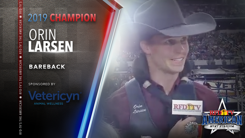 Orin Larsen wins the Bareback Riding at RFD-TV's THE AMERICAN 2019