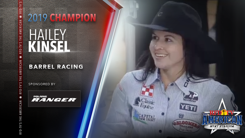 Hailey Kinsel wins the Barrel Racing at RFD-TV's THE AMERICAN 2019