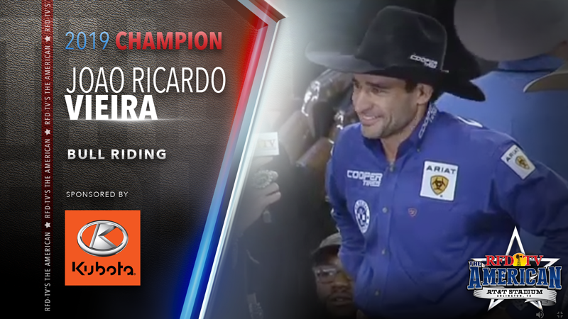 Joao Ricardo Vieira wins the Bull Riding at RFD-TV's THE AMERICAN 2019