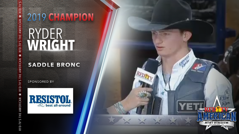 Ryder Wright wins the Saddle Bronc Riding at RFD-TV's THE AMERICAN 2019