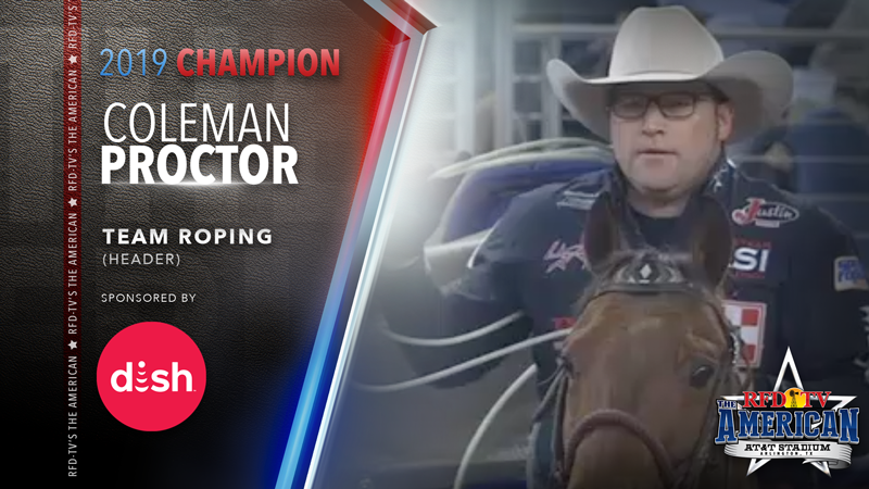 Coleman Proctor (Header) wins the Team Roping at RFD-TV's THE AMERICAN 2019