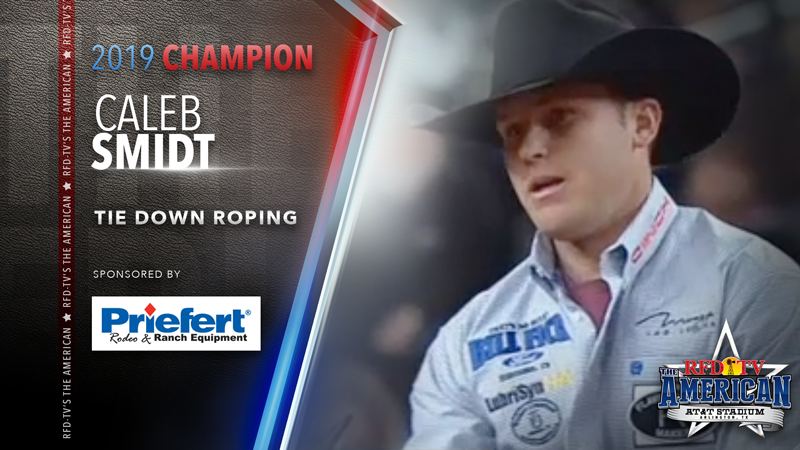 Caleb Smidt wins the Tie Down Roping at RFD-TV's THE AMERICAN 2019