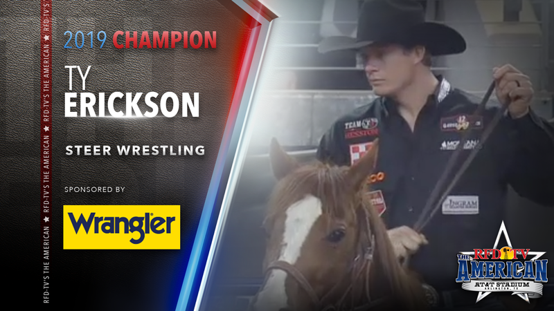 Ty Erickson wins the Steer Wrestling at RFD-TV's THE AMERICAN 2019